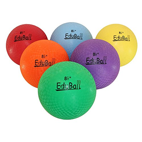 "Eduball 8.5"" Dodgeball,Playground Ball Set for Indoor or Outdoor Use -(Heavy-Duty) Set of (6) Assorted Colors"