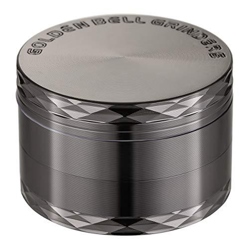 LIHAO 1 x Grinder Pollen Crusher Nickel-Schwarz 4-teiliges Set Krautmühle Zinklegierung für Spice, Kräuter, Gewürze, Herb (MEHRWEG)