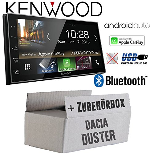 Autoradio Radio Kenwood DMX7018BTS - | Bluetooth | AndroidAuto | Apple CarPlay | Zubehör - Einbauset für Dacia Duster 2Din grau - JUST SOUND best choice for caraudio