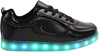 Transformania Toys Galaxy LED Shoes Light Up USB Charging Low Top Women Sneakers (Black)