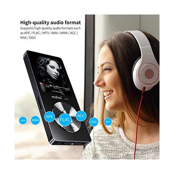 Portable MP3 Player(Expandable Up to 128GB), Music Player/One-Key Voice Recorder/FM Radio 70 Hours Playback with External Speaker HD Headphone, Black 4