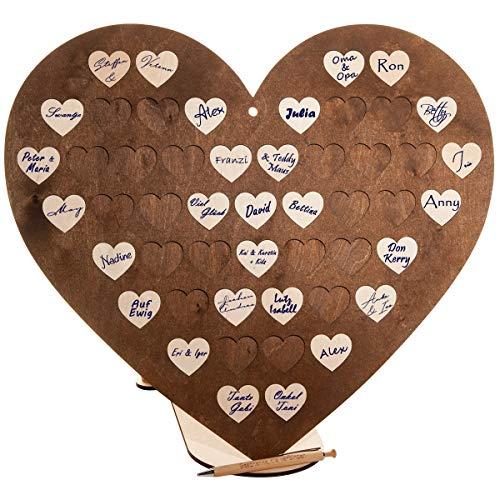 Spruchreif PREMIUM QUALITÄT 100% EMOTIONAL - Libro de visitas XL de alta calidad para bodas, con 50 corazones de madera para escribir, también para bautizos, cumpleaños o para huéspedes