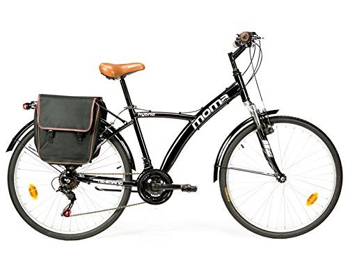 Moma Bikes Bicicletta Trekking 26 Bike Alu 18V Hybrid, Nero
