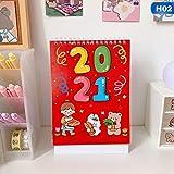 カレンダー 2021カレンダー新年あけましておめでとうございますデスクカレンダーOffice Desktop月例プランナーミニフリップコイルカレンダー 卓上カレンダー (Color : 2)