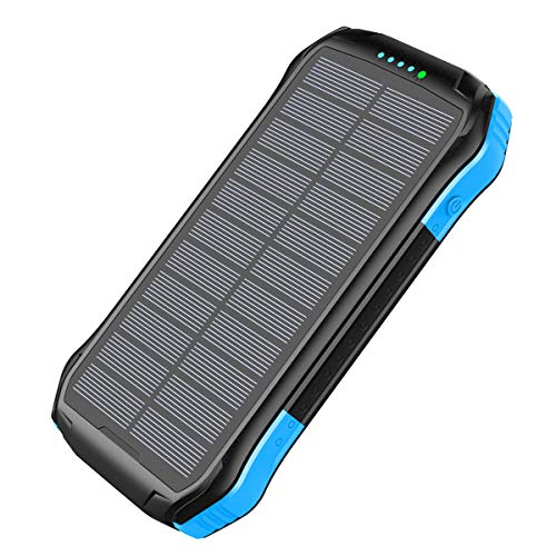 Hokaime 16000mAh Solar Power Bank Cargador Doble USB inalámbrico rápido Impermeable Panel Solar portátil Linterna LED al Aire Libre para el teléfono iPad,Azul