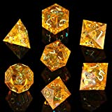 DND Dice, DND Dice Set, Dungeons and Dragons Dice, Sharp Edge Dice with Beautiful Inclusions (Citrine Color)