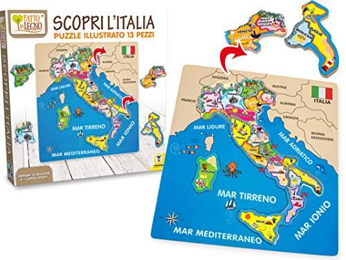 Teorema 40462 - Puzzle d'Italia in Legno, Multicolore