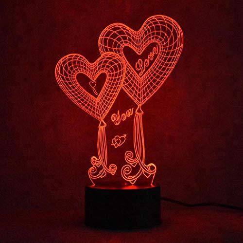 Amor 3D Luz De Noche Led Colorida Hogar Inteligente Fuente De Alimentación Usb Atmósfera Juguetes Para Niños Lámpara Novedad Usb Led Accesorios De Luz 3D