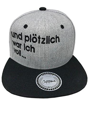 Outfitfabrik Snapback Cap Stickerei und plötzlich war ich voll. in grau (Junggesellenabschied, 18. Geburtstag, JGA, Provokation, Statement)