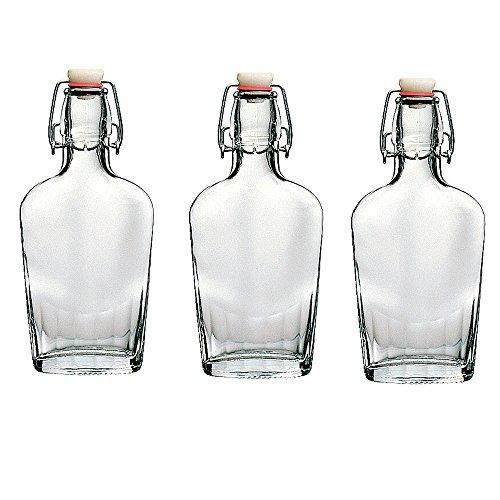Bormioli Rocco Fiaschetta Glass 8.5 Ounce Pocket Flask, Set of 6