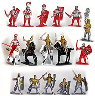 Plastic Toy Soldiers Roman Infantry and Auxiliary Painted Figure Set 1/32 Scale 16 Pieces with Horses Marx Type Army Men by Sunjade