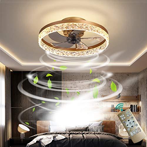 OMGPFR Deckenventilator mit Beleuchtung LED Licht, Luxus Kristall Deckenleuchte, Mit Fernbedienung dimmbar, Modern Ruhig Deckenventilatorlampe für Wohnzimmer Schlafzimmer, Wendbarer Lüfter,Gold