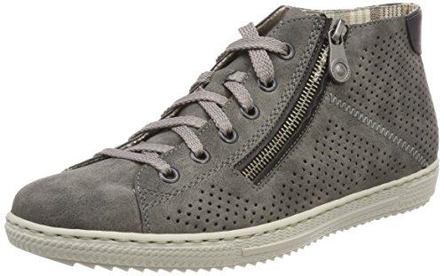 Rieker Damen L9427 Hohe Sneaker, Grau (Smoke/Schwarz), 38 EU