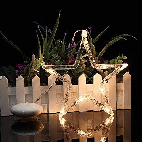SuperglockT LED hängendes Fensterlicht Saugnapf Weihnachtsbeleuchtung batteriebetrieben LED Fenstersilhouette Fensterdeko 8 warmweiß LEDs Kinderzimmer Schaufenster Licht (Stern)