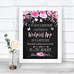 Personalized wedding sign printed onto Card. Frame not included, for illustration only. You can choose to have the print only, and frame it yourself, or choose the foam mounted option to have the sign mounted onto a foam and easel backing as pictured...
