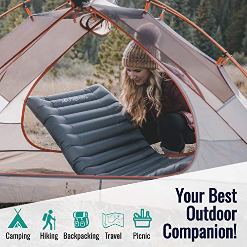 Trekology UL Sleeping Pad, Inflatable Camping Mat, UL80 Ultralight Backpacking Mats, Compact Lightweight Inflating Air Insulated Thick Mattress Pads in a Bag for Sleep, Camp, Hammock, Hiking, Adults