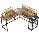 Karcog L Shaped Desk Computer Desk with Shelves, Large Office Desk L Shaped Gaming Desk Industrial Corner Desk for Home Office, Study Writing Table Work Desk, Rustic Brown/Black