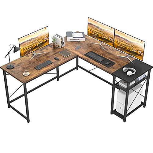 Karcog L Shaped Desk Corner Computer Desk, Industrial L-Shaped Office Desk with Storage Shelves, Large Gaming Desk Sturdy Writing Desk for Small Space, Rustic Brown and Black