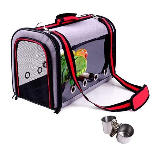 VEROMAN 鳥 インコ 移動用 バード キャリー バッグ 餌入れ付き 小さく収納 (グレー×レッド)