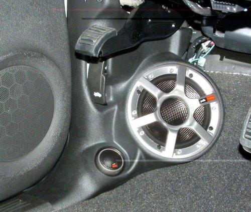 QLogic Custom Kick Panel Speaker Mount Pod for Cadillac Escalade & EXT, Chevy Avalanche Silverado & Suburban, GMC Denali Sierra Yukon & Yukon XL 2007-2013 (Titanium - Light Gray E5)