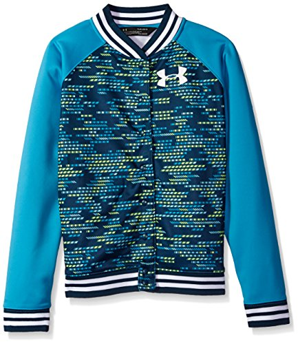 Under Armour Girls' Armour Fleece Bomber,Blue Shift (929)/White, Youth Medium