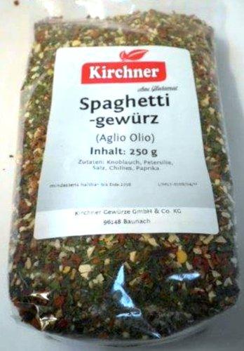 1a Kirchner Gewürze 49678 AGLIO OLIO - Spaghetti Pasta Nudel Gewürz ohne Glutamat --- Klarsichtbeutel 250g