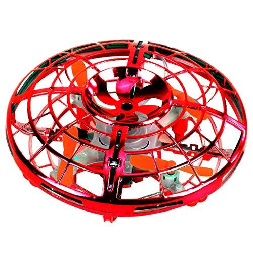 PPangUDing Mini Drohne UFO Spielzeug RC Fliegender Ball Quadcopter mit Fernbedienung Fliegendes und LED Licht Höhenlage halten Fliegendes Kinderspielzeug Für kinder Anfänger (18CMx15CMx10CM, rot)