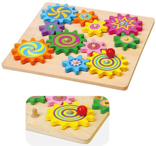 New Classic Toys Viga Wooden Spinning Gears & Cog, Childrens Toddler Activity Play Toy