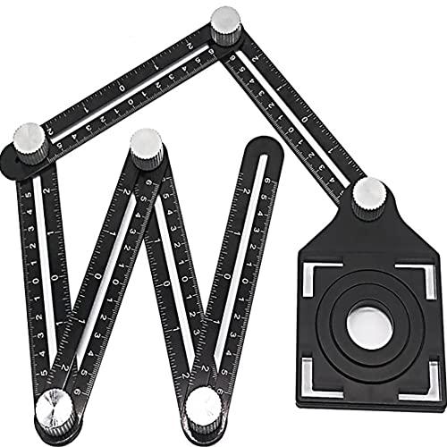 Escuadras Metalicas Carpintero Herramienta de medición de ángulo Multi-ángulo Regla de medición de aluminio Alloy Ultimate Marca plantilla herramienta Six-Fold Ruler Tile Apertura Posicionamiento Adec