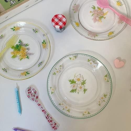 zhongbao Tazón de cristal nórdico plato de ensalada platos de desayuno, plato de cena, bandeja de bocadillos para hornear, vajilla y utensilios de cocina tazón de vidrio (color estilo margarita)