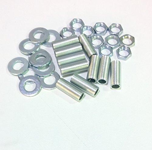 Ricambi lampadari lampade Kit 10 pezzi tubo filettato 10X1 L. 25mm più 10 dadi più 10 ranelle