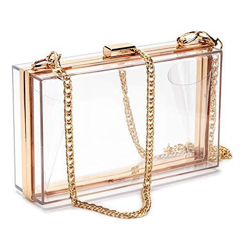 Clear Purse Acrylic Box Evening Clutch Bag Crossbody Shoulder Handbag for Women (Clear)