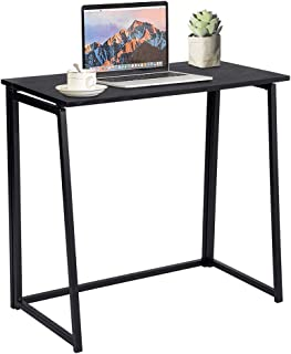 GreenForest Folding Desk, Industrial Computer Writing Desk Space Saving Foldable Study Table for Small Places, Black