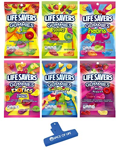 Lifesavers Gummies, Original 5 Flavors, Sours, Neons, Exotics, Collisions, and Wild Berries 7oz, 6 Bags with Spice of Life Bag Clip