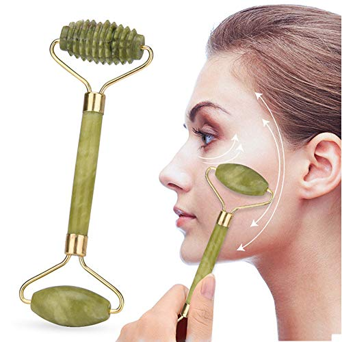 Best Jade Roller & Gua Sha Scrapping Tool Set - Ultimate Skin Care Solution for Anti-Aging & Anti-Wrinkle - 100% Natural Jade Stone Face Roller is also Perfect as Neck & Puffy Eyes Massager,Thread