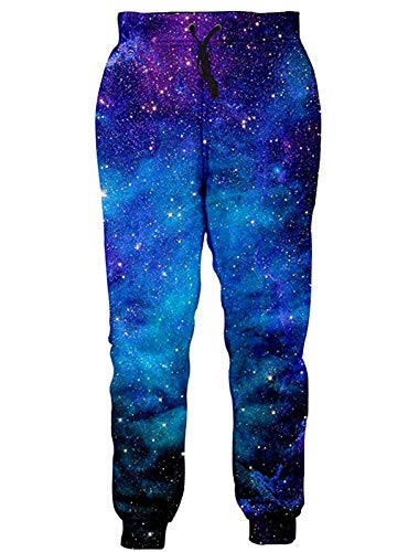 RAISEVERN Unisex Sweatpants Blue Galaxy Jogging Pants Cool Cosmic Starry Sports Trousers with Drawstring for Men &Women