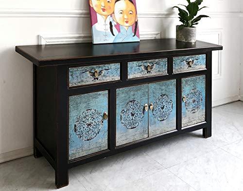 OPIUM OUTLET Orientalische Kommode, Asia Sideboard, schwarz-türkis, chinesischer Hochzeitsschrank Landhaus-Stil, Vintage Holz