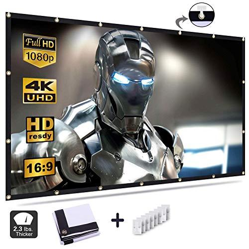 Beamer Leinwand, 84 Zoll HD Projektion Leinwand - Keine Falte tragbare Tasche Projektionswand Unterstützung Doppelseitigen Projektion für Heimkino und Freiluftkino