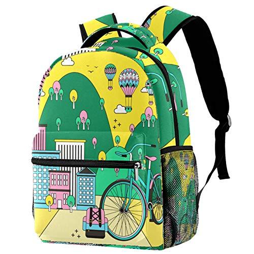 KEAKIA Cartoon Eco City Illustration Schoolbag Bookbag Backpack for Teen Girls Boys School Bags Fits 14 Inch Laptop Bag