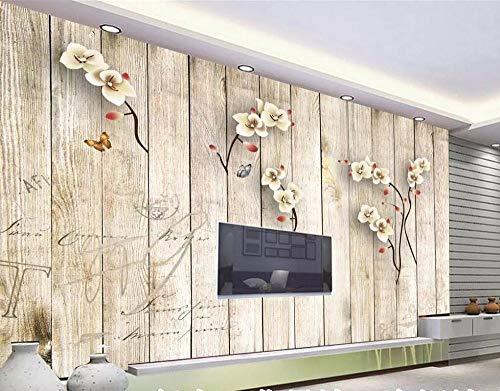 BHXIAOBAOZI behang fotobehang op maat 3D groot landschap bloemen op houten plank moderne decoratie Hd kunstdruk poster foto voor woonkamer wanddecoratie (BH-1371) 140cm(W)×70.5cm(H)|4.59×2.29 ft