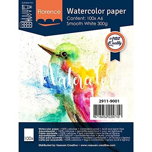 Vaessen Creative 2911-9001 Florence Aquarellpapier A6 in Weiß, aus 300 g/m² Glatte Papier, 100 Blatt für Aquarellmalerei, Handlettering und Brush Lettering