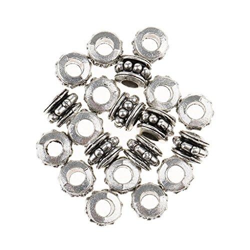 Sharplace Lot 20pcs Perles Dreadlock à Tresser Cheveux Clip Tube en Argent à Décoration de Coiffure/Chignon - Perles à DIY Bricolage de Bijoux Bracelet Collier