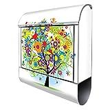 Banjado Design Briefkasten mit Motiv Märchenzauberbaum | Stahl pulverbeschichtet mit Zeitungsrolle | Größe 38x47x14cm, 2 Schlüssel, A4 Einwurf, inkl. Montagematerial