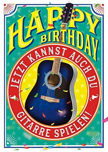 """bentino Geburtstagskarte XL mit """"Gitarre"""" zum SELBER SPIELEN, Spiele auf der Gitarre den Song """"Happy Birthday"""", DIN A4 Set mit Umschlag, Glückwunschkarte mit Musik"""
