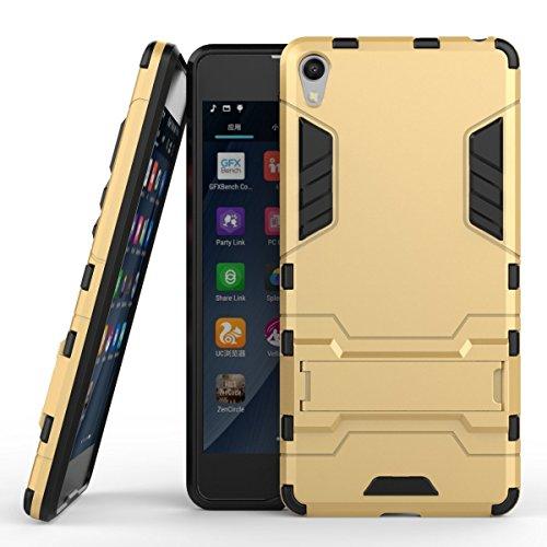 Funda para Sony Xperia E5 (5 Pulgadas) 2 en 1 Híbrida Rugged Armor Case Choque Absorción Protección Dual Layer Bumper Carcasa con Pata de Cabra (Dorado)