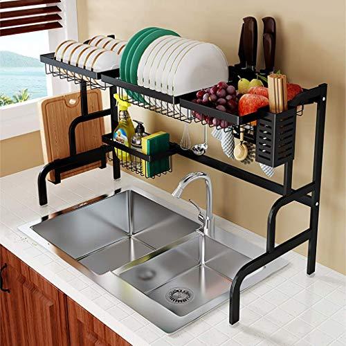 Vajilla de Cocina Organizador Rack, Negro 201 Acero Inoxidable del Fregadero de Cocina de Drenaje Estante for Platos Tendedero 85 * 32 * 52cm ZDWN