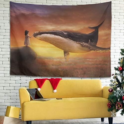 Tapiz decorativo para pared con diseño de ballena, 150 x 150 cm, color blanco