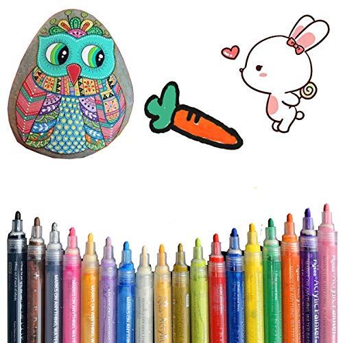 Rotuladores acrílicos eeQiu, conjunto de marcadores de pintura acrílica impermeables no tóxicos, para pintar piedras, cerámica, vidrio, lienzo, tazas, madera y huevos de Pascua. 18 colores