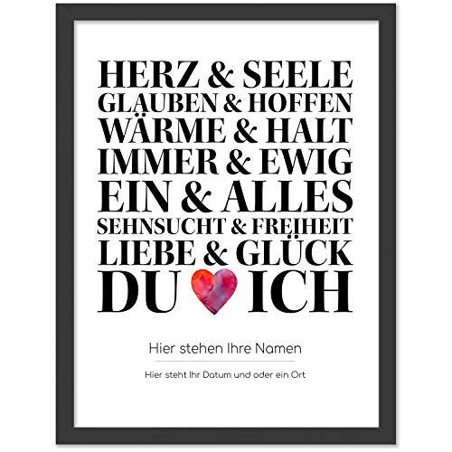 Personalisiertes Poster, DU und ICH, Größe 40x30 cm, BILD MIT RAHMEN (schwarz) Geschenk für Sie oder Ihn zum Hochzeitstag, Valentinstag, Jahrestag oder als Liebeserklärung