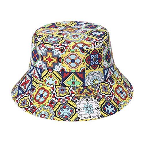 XuHang Cappello a tesa larga multicolore geometrica stampa floreale protezione solare viaggio spiaggia panama pescatore cappello per sport all'aperto regali, Donna, 2, 2
